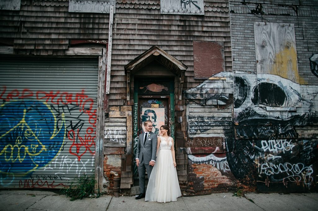 Portraits at a wedding at Roberta's in Brooklyn, New York